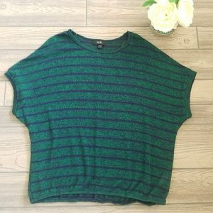AGB Green Blue Batwing Short Sleeve Sweater Sz XL